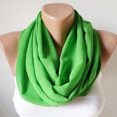 green,circle-loop scarf, $18.00
