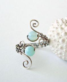 Peruvian Opal Wire Ring, Aqua
