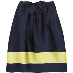 J.Crew Striped satin skirt ($190) ❤ liked on Polyvore featuring skirts, bottoms, yellow, navy, saias, navy skirt, j. crew skirts, striped skirt, knee length skirts and navy knee length skirt