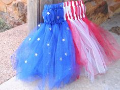 Red White and Blue glitter tutu dress with star accents