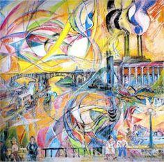 David Burliuk (1882 1967) | Futurism | Harlem River - 1924