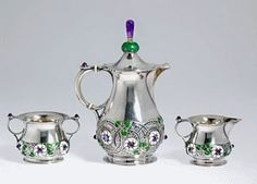Art Nouveau David-Andersen Coffee pot, sugar bowl and cream jug - Design by Gustav Gaudernack - Blomqvist Oslo