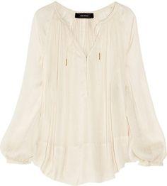 5b00be6ab9f Isabel Marant Farah draped sateen blouse - ShopStyle Longsleeve