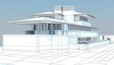 Robie House Model available on Turbo Squid, the world's leading provider of digital models for visualization, films, television, and games. House 3d Model, Raised Deck, Organic Architecture, Wall Design, House Plans, Brick, Lloyd Wright, Balcony, Window