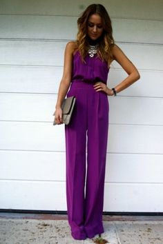 Love this purple jumpsuit outfit Passion For Fashion, Love Fashion, Womens Fashion, Fashion Trends, Mein Style, Looks Chic, Spring Summer Fashion, Dress To Impress, Dress Up