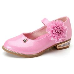 >> Click to Buy << 2017 New Spring Children Leather Shoes Party Princess Kids Wedding Shoes Girls Sandals Flowers Sweet Square Heels Pink Red White #Affiliate