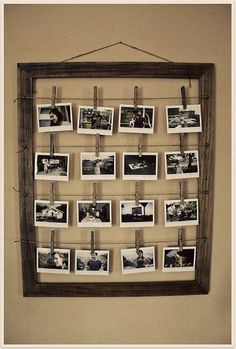Use empty frames fashioned with clips to have a rotating display of kids' artwork (you could also use rotating photos, recipe ideas in a kitchen, or some other creative thing). Description from simcoestreet.blogspot.ca. I searched for this on bing.com/images