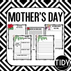 Check out these great Mother's Day Printables! Enjoy this Mother's Day Printable resource for your class during the month of  May! Just place it in a center or create a Mother's Day Packet! Print in Color or BW!  You may also enjoy these PRODUCTS:Spring Printables: KindergartenPrintables for Spring: 1st GradeSpring Printables: Second Grade