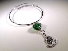 BEACH FASHION RHODIUM VIN & SUE NAUTICAL GREEN HEART SHIP ANCHOR CHARM BRACELET