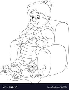 Granny knitting vector image on VectorStock Cute Coloring Pages, Colouring Pics, Adult Coloring, Christmas Coloring Sheets, Printable Christmas Coloring Pages, Wood Carving For Beginners, Vintage Coloring Books, Family Drawing, Christmas Embroidery