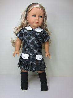 American girl doll clothes-  Grey and black school  dress by JazzyDollDuds