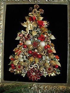Framed Vintage Jewelry Christmas Tree Art Roses Cherub Heart Cameos Rhinestone | eBay