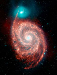 Collisions play an important role in galaxy evolution. These two galaxies—the Whirlpool and its companion—are relatively nearby at a distanc...