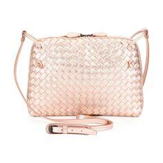 "Small Intrecciato Grosgrain Crossbody Bag by Bottega Veneta. Bottega Veneta small intrecciato grosgrain crossbody bag in lambskin. Brass hardware. Adjustable shoulder strap; seamed through center. Two-way zip top closure. Interior zip pocket. Suede lining. 6.6""H x 9.4""W x 1.6""D. Made in Italy of S... #bottegaveneta #bags"