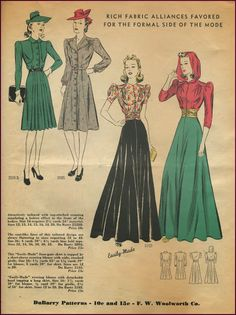 Evening skirt and blouse with hood, DuBarry patterns, 1940s.  |  NewVintageLady: Catalog Sunday