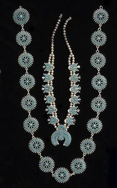 A Zuni jewelry group: concha belt, necklace, pair of earrings
