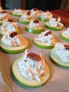 Easy and healthy apple, chicken salad, pecan bites for party food for book club