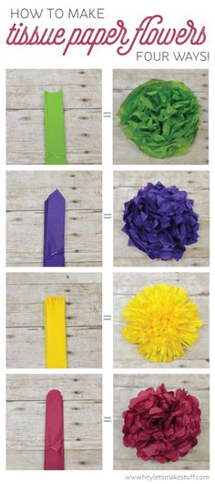 Learn how to make four different types of tissue paper flowers -- they can make a gorgeous wedding centerpiece without breaking the bank!                                                                                                                                                                                 More