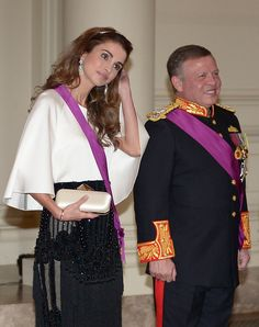 royalwatcher:  Jordanian State Visit to Belgium, State Dinner, May 18, 2016-Queen Rania and King Abdullah