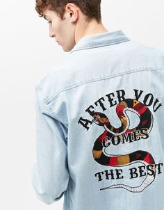 Embroidery denim shirt products Ideas for 2019 Denim Jacket Men, Denim Shirt, Painted Clothes, Denim Outfit, Graphic Shirts, Custom Clothes, Casual Shirts, Menswear, Streetwear
