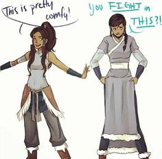 Korra and Katara clothes swap