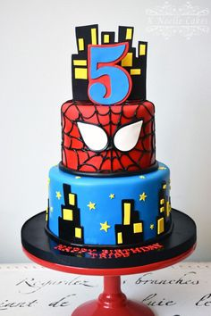 Spiderman theme cake by K Noelle Cakes Superhero Party Favors, Superhero Cake, Superhero Birthday Party, Boy Birthday, Spiderman Birthday Cake, Spiderman Theme, Bolo Fake Eva, Marvel Cake, 5th Birthday Party Ideas
