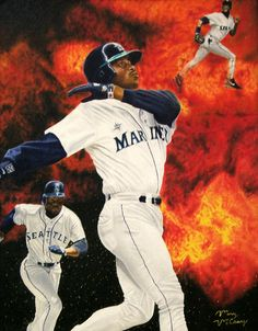 "This is a oil painting on canvas done of Ken Griffey Jr. in his early baseball career. Original size is 16"" x 20""."