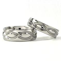 matching wedding bands | Cobalt Infinity His and Hers Set Titanium Wedding Rings - Matching Set