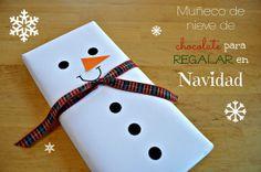 Tabletas de chocolate convertidas en muñecos de nieve para regalar en Navidad