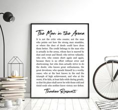 The Man In The Arena Printable Art, Inspirational Quote Poster, Theodore Roosevelt Daring Greatly, Printable Wall Art *INSTANT DOWNLOAD*