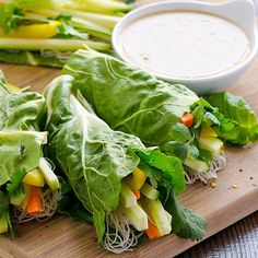 Fresh Vegetable Spring Rolls rolled in swiss chard with brown rice noodles, veggies and easy peanut sauce for dipping. | ifoodreal.com