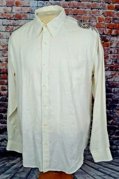 Lucky Brand Men's Linen Shirt Ivory White Embroidered Long Sleeve Button Down XL #LuckyBrand #ButtonFront