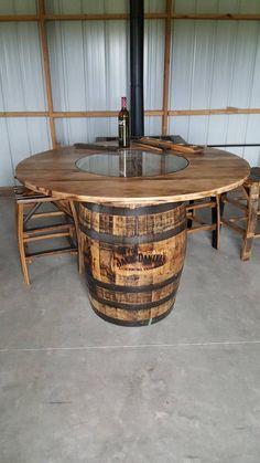 Whiskey Barrel Table, with Jack Daniels Barrel (includes footrest) Fre… Whiskey Barrel Furniture, Whiskey Barrels, Wine Barrel Bar Stools, Barrel Sink, Jack Daniels Barrel, Tonneau Bar, Barrel Projects, Diy Projects, Pallet Furniture