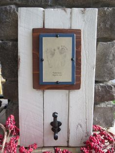 Distressed Wood Plank Frame with Antique Hook, $57.00