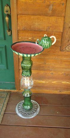 Watermelon birdbath