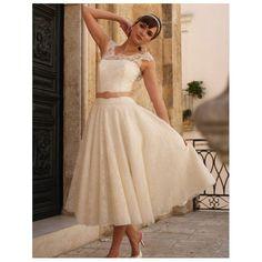 Irish Pink Belted Tea-Length Lace Wedding Dress - Star Bridal Apparel