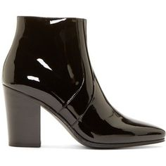 Saint Laurent Black Patent French Ankle Boots