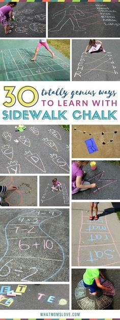 Sidewalk Chalk Learning Activities for kids Summer slide prevention and boredom busters with fun games for reading math letters numbers sight words science and more Bes. Outdoor Activities For Kids, Kids Learning Activities, Summer Games, Learning Activities For Toddlers, Summer Activities For Preschoolers, Kids Activity Ideas, Outdoor Play For Toddlers, Summer Fun Activities, Outdoor Learning Spaces