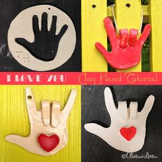 clay hand i love you tutorial elementary project