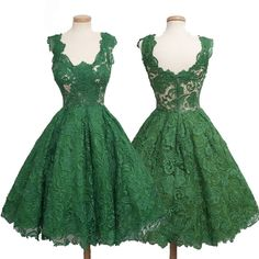 Vintage Homecoming Dress -Green Ball Gown Scoop Sleeveless with Lace