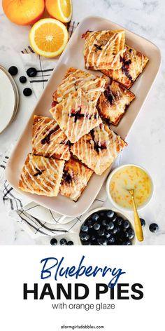 Best Dessert Recipes, Fruit Recipes, Pie Recipes, Unique Desserts, Fun Desserts, Orange Glaze Recipes, Fresh Blueberry Pie, Apple Fritters, Fruit Tart