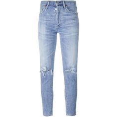 Citizens Of Humanity distressed skinny jeans (€335) ❤ liked on Polyvore featuring jeans, pants, bottoms, blue, destroyed denim skinny jeans, destroyed jeans, destroyed skinny jeans, blue jeans and blue ripped skinny jeans