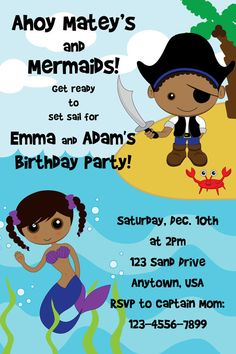 Pirate and Mermaid Custom Birthday Party invitations *African American themed* *Pirate Party/Mermaid Party*