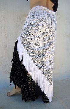 CUSTOM - White lace-long triangle- hip scarf with long white fringes-Tribal fusion Hip Scarf, Hip Fringe Shawl-Belly Dance Boho festivals.