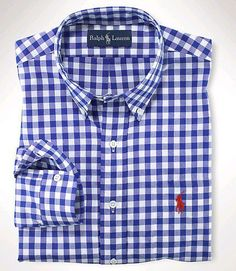 Polo Ralph Lauren Mens Checked Dress Shirt Blue