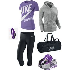 Purle Works Out!, created by heather-rolin on Polyvore  I NEED WORK OUT CLOTHES