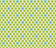 Green retro organic apple fabric by littlesmilemakers on Spoonflower - custom fabric