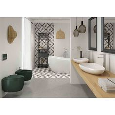 Glamorous Contemporary Bathroom Design With Awesome Wall Paper, Lights, Dark Green Vanity And White Bathtub And Sink