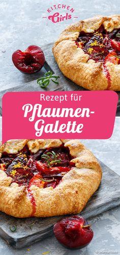 Rezept für Pflaumen-Galette Quiche, Cooking Recipes, Yummy Recipes, Bagel, Apple Pie, Baked Goods, Baked Potato, Blueberry, Pumpkin
