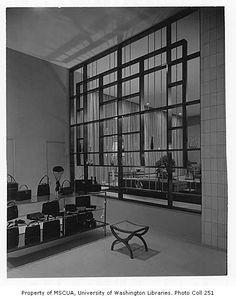 John Doyle Bishop shop interior showing display area, Seattle, 1955